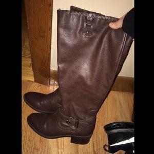 Brown Leather Knee High Boots